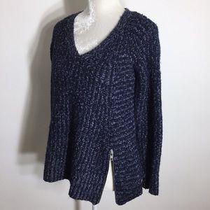 Anthro • Moth chunky wool side zip knit sweater